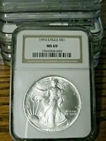 1  1993 $1 AMERICAN SILVER EAGLE - 1 OUNCE FINE SILVER - NGC MINT STATE 69 GRADED