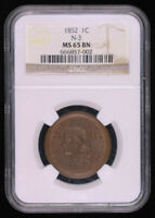 1852 BRAIDED HAIR LARGE CENT COIN NGC MINT STATE 64BN
