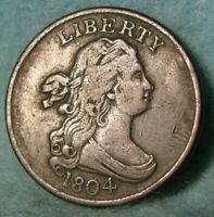 1804 SPIKED CHIN DRAPED BUST HALF CENT BETTER GRADE NICE UNITED STATES TYPE COIN