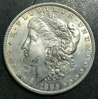 1886-O MORGAN SILVER DOLLAR UNCIRCULATED DETAILS - CLEANED