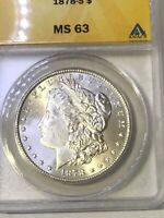 1878-S MORGAN SILVER DOLLAR ANACS MINT STATE 63 UNCIRCULATED GEM  YEAR LOOKSALE