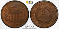 1865 2C OBV/REV DIE CLASH FS-401/901 PCGS MINT STATE 63 BN TOUCH OF RED CAC