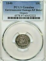 1840 SEATED LIBERTY HALF DIME WITH DRAPERY PCGS GENUINE - EXTRA FINE  DETAIL