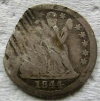 1844 SEATED LIBERTY DIME FINE DETAILS DAMAGED - SEE PHOTOS