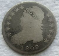 1809 CAPPED BUST HALF DOLLAR NORMAL EDGE  CLEANED   -  WE HAVE THE TOUGH DATES