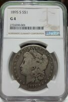 1895-S NGC SILVER MORGAN DOLLAR GOOD CONDITION G4 TOUGH DATE