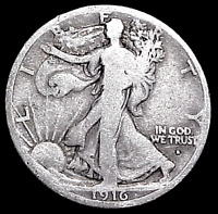 1916 S WALKING LIBERTY HALF DOLLAR    MIN. BID .01 &