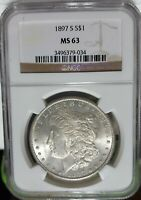 1897-S NGC MINT STATE 63 MORGAN SILVER DOLLAR