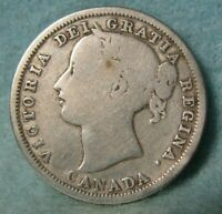 1858 CANADA SILVER 20 CENTS KM 4 CANADIAN / WORLD COIN