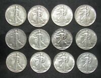 LOT OF 12 WALKING LIBERTY HALF DOLLARS ALL AU