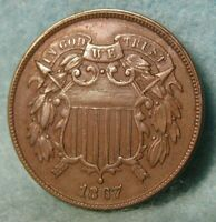 1867 TWO CENT PIECE SHARP HIGH GRADE UNITED STATES TYPE COIN