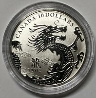 CANADA 2012 $10 YEAR OF THE DRAGON PURE SILVER COIN  IN CAPS