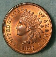 1875 INDIAN HEAD PENNY NEAR GEM BU MOSTLY RED WITH LIBERTY &