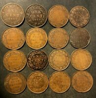 OLD CANADA COIN LOT   1901 1920   LARGE CENTS   16 COINS   L