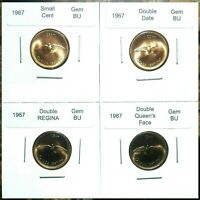 CANADA 1967 SMALL CENTS GEM BU DOUBLE DATE DOUBLE FACE & DOU