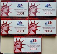 2001 TO 2005 LOT OF 5 U.S. SILVER PROOF SETS OGP/COA