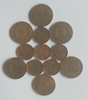 CANADA NEWFOUNDLAND LARGE & SMALL ONE CENT COIN LOT OF 12 PE