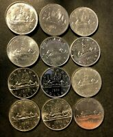 OLD CANADA COIN LOT   DOLLAR   12 AU/UNC COINS    LOT O21