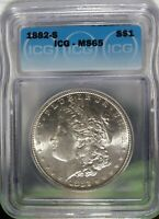 1882-S MORGAN SILVER DOLLAR, ICG MINT STATE 65 SHARP COIN