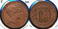 1896 SPAIN COPPER 20 CENTIMOS  JUST 100 ISSUED