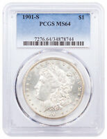 1901 S MORGAN SILVER DOLLAR $1 COIN PCGS MINT STATE 64 MINT STATE