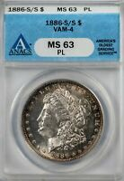 1886-S/S VAM-4 MORGAN ANACS MINT STATE 63PL PROOF-LIKE SILVER DOLLAR