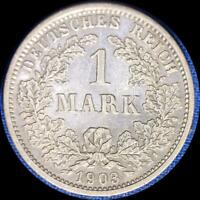 GERMANY 1903 D 1 MARK OLD SILVER WORLD COIN HIGH GRADE