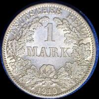 GERMANY 1910 A 1 MARK OLD SILVER WORLD COIN HIGH GRADE