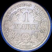 GERMANY 1878 B 1 MARK OLD SILVER WORLD COIN
