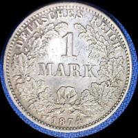 GERMANY 1874 G 1 MARK OLD SILVER WORLD COIN