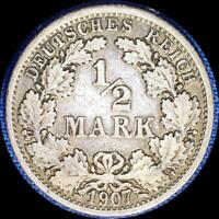 GERMANY 1907 F 1/2 MARK OLD SILVER WORLD COIN