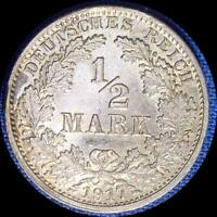 GERMANY 1917 G 1/2 MARK OLD SILVER WORLD COIN HIGH GRADE