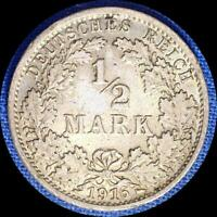 GERMANY 1916 G 1/2 MARK OLD SILVER WORLD COIN HIGH GRADE