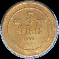 SWEDEN 1885 5 ORE OLD COPPER WORLD COIN    LOW MINTAGE 282 000