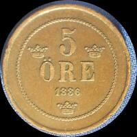 SWEDEN 1886 5 ORE OLD COPPER WORLD COIN    LOW MINTAGE 269 000