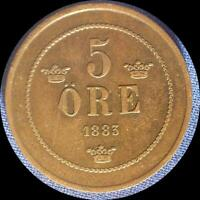 SWEDEN 1883 5 ORE OLD COPPER WORLD COIN   HIGH GRADE   LOW MINTAGE 578 000