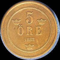 SWEDEN 1882 5 ORE OLD COPPER WORLD COIN   HIGH GRADE   LOW MINTAGE 825 000