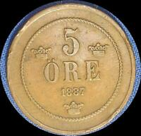 SWEDEN 1887 5 ORE OLD COPPER WORLD COIN   ONLY 251 000 MINTED KEY DATE
