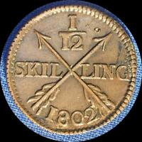SWEDEN 1802/2 1/12 SKILLING OLD WORLD COIN   HIGH GRADE RE PUNCHED DATE