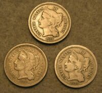 3 PIECE THREE CENT NICKEL UNITED STATES TYPE COIN LOT 1866 1