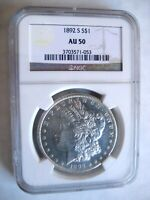1892-S MORGAN DOLLAR, NGC AU-50 COVETED DATE - REFLECTIVE SEMI-PL FIELDS