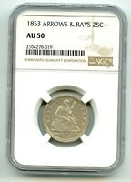 1853 SEATED QUARTER ARROWS & RAYS AU 50 NGC    WHITE COIN  NICE  READ