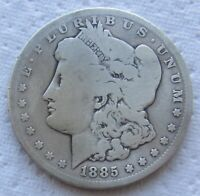 1885-CC MORGAN SILVER DOLLAR  DATE CIRCULATED EXAMPLE CLEANED