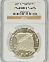 1987-S US CONSTITUTION NGC PF 69 ULTRA CAMEO SILVER SLABBED CERTIFIED $1 COIN