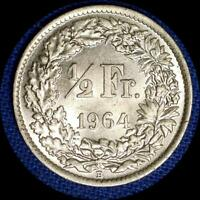 8 SWITZERLAND 1960S 1/2 FRANC OLD SILVER WORLD COINS HIGH GRADE 8 DIFFERENT