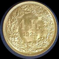 SWITZERLAND 1928 FRANC OLD SILVER WORLD COIN   A  BEAUTY  BU