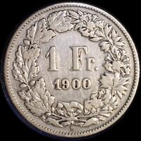 SWITZERLAND 1900 FRANC OLD SILVER WORLD COIN   MINTAGE 400 000