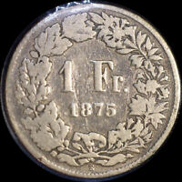 SWITZERLAND 1875 FRANC OLD SILVER WORLD COIN KEY DATE
