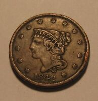 1842 BRAIDED HAIR LARGE CENT PENNY   EXTRA FINE CONDITION