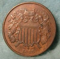 1868 TWO CENT PIECE HIGH GRADE UNITED STATES TYPE COIN